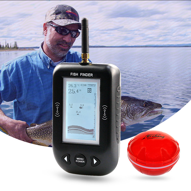 Erchang Portable Depth Fish Finder Wireless Echo Sounder Alarm 0 6 100m Depth Fishfinder Transducer Sensor