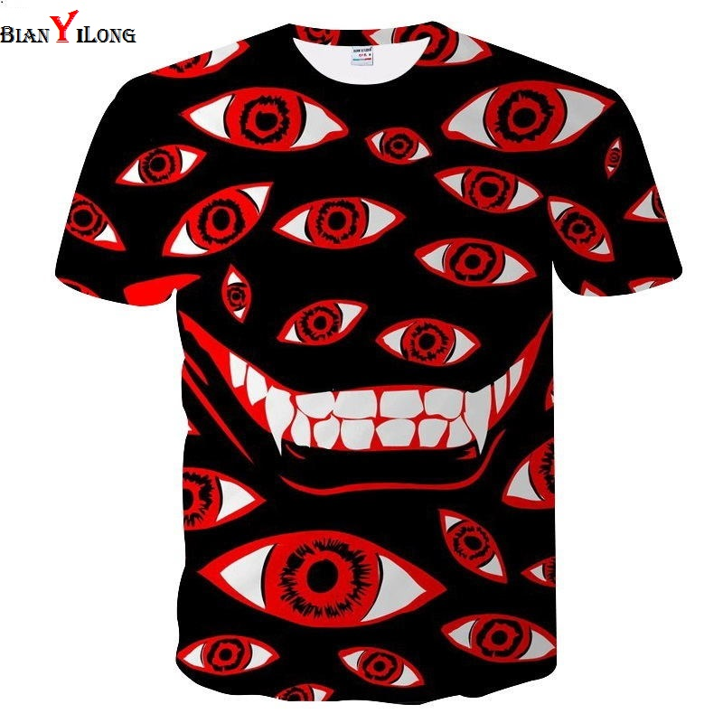 New Men Shirt Fashion Men/women 3d T-shirt Short Sleeve Tees Print Red Eyes And White Teeth Quick Dry Summer Tops Tees