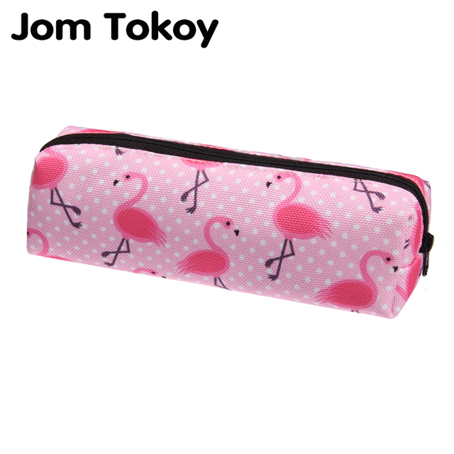 Jom Tokoy 3d Print Cosmetic Bag 2018 Fashionable Women Pink Flamingo Makeup Stationery Pouch Kids