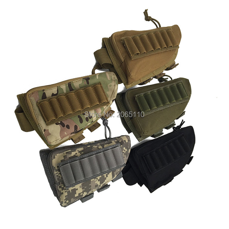 TACTICAL MILITARY RIFLE SHOTGUN BUTTSTOCK SHELL AMMO HOLDER STOCK POUCH BAG OD