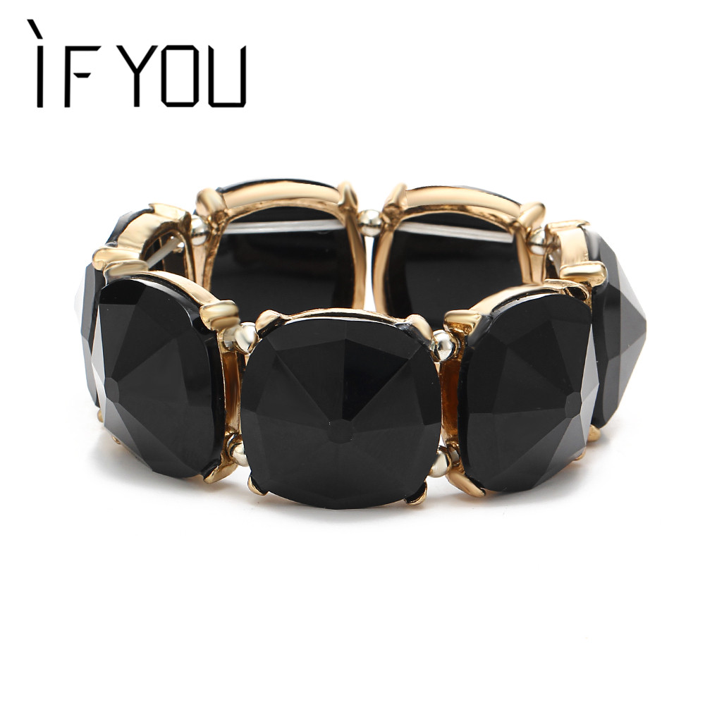 IF YOU 2 Colors Trendy Large Big Stretch Bead Geometric Stone Mosaic Bracelet Jewelry Accessories Bangles snap jewelry pulseras