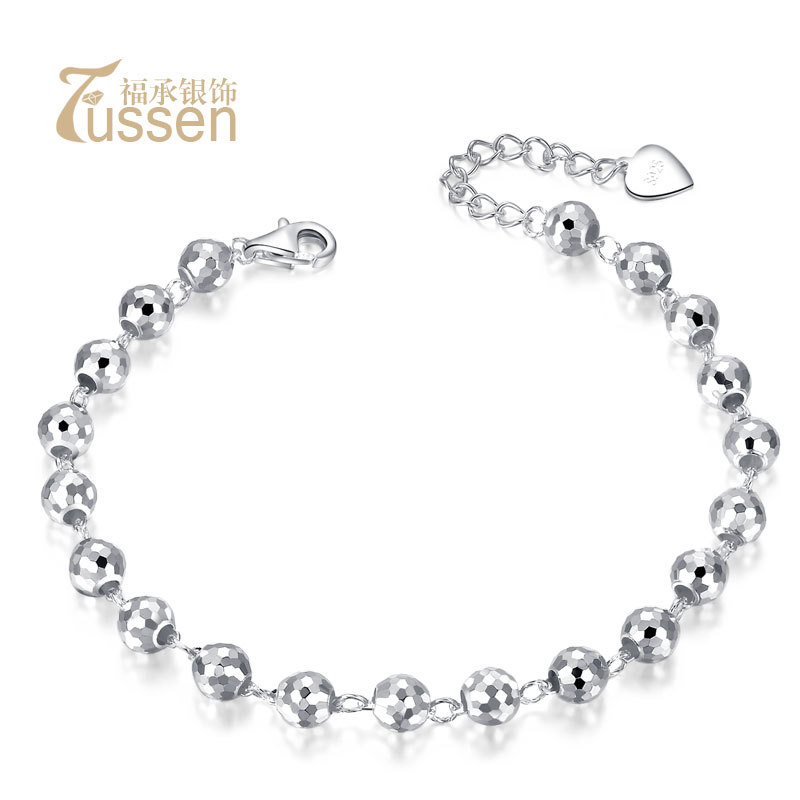 FUSSEM Shiny Beads S925 Sterling Silver Bracelet Womens Fashion Accessories Birthday Gifts Girlfriend FREE SHIPPING