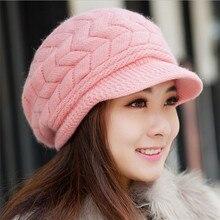 2016 New Cotton Rabbit Fur Hat Female Elegant Women Knitted Warm Knitting Winter Hats Skullies Beanies