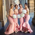 Robe demoiselle d'honneur 2017 Pink Cap Sleeve V-Neck Mermaid Bridesmaid dresses Long Prom Gown For Wedding Dress Formal Dress