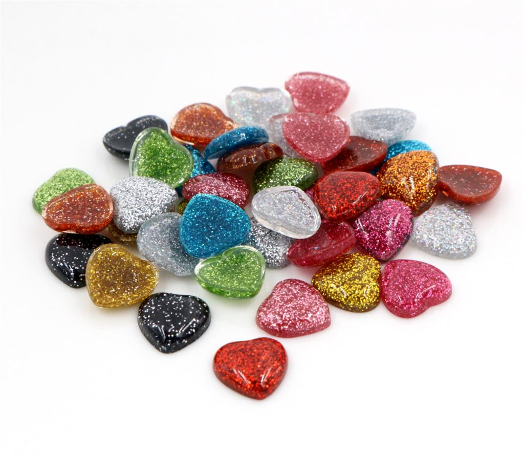 New Fashion 40pcs 12mm Heart Style Mix Colors Flat Back Resin Cabochons Cameo For Bracelet Earrings Accessories