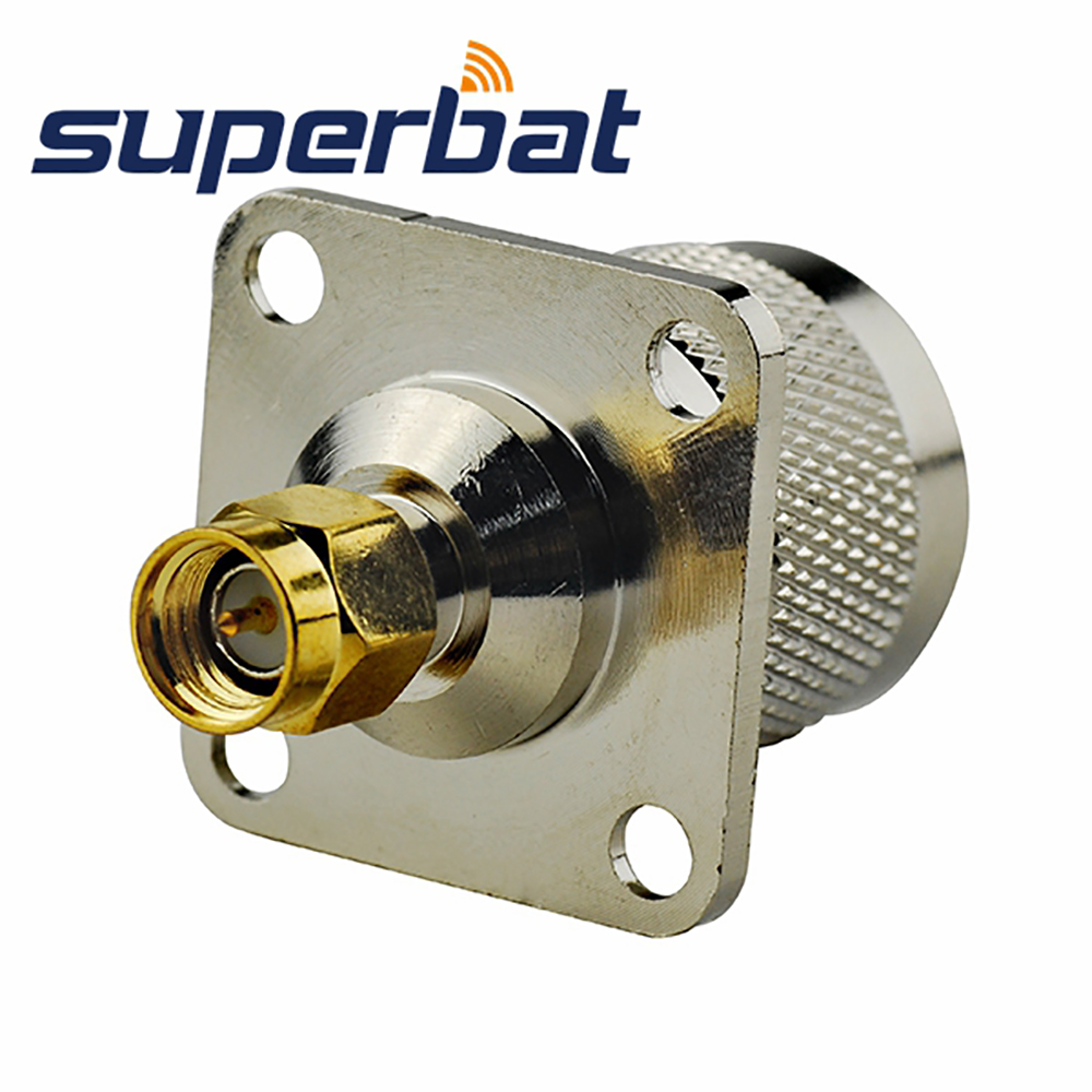 Superbat SMA Male Plug  To N Male Flange 4 Hole Panel Mount RF Coax Connector Adapter 25*25mm For Wireless