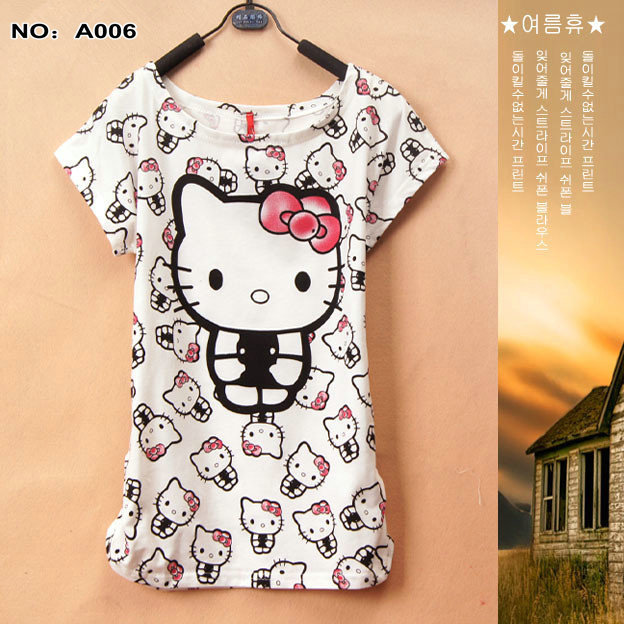 A006 2015 new summer tops tees casual youth T-shirt HELLO KITTY outfit women Round collar stripe patchwork shirts - Lanmo store
