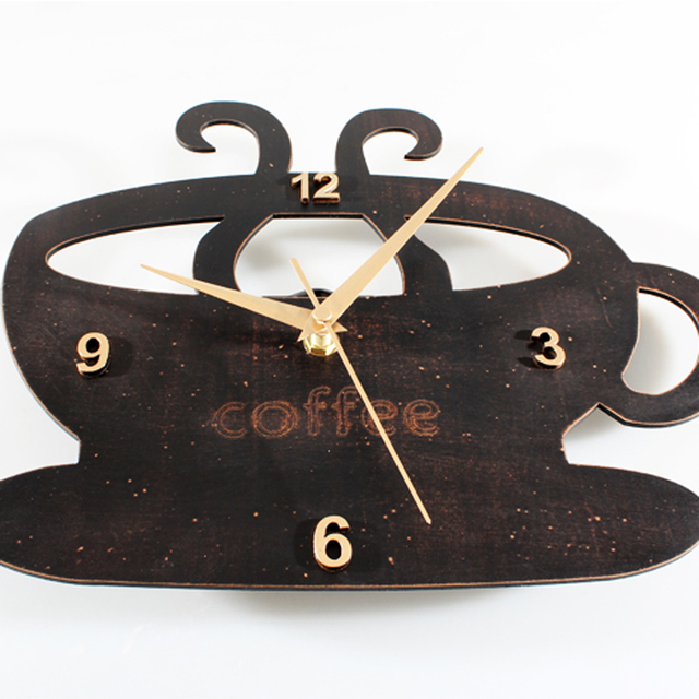 Vintage Countryside Rust Fake Wood Coffee Cup Wall Clock Creative Design Tableware Wall Clock Silent Non-tickingWall Clock