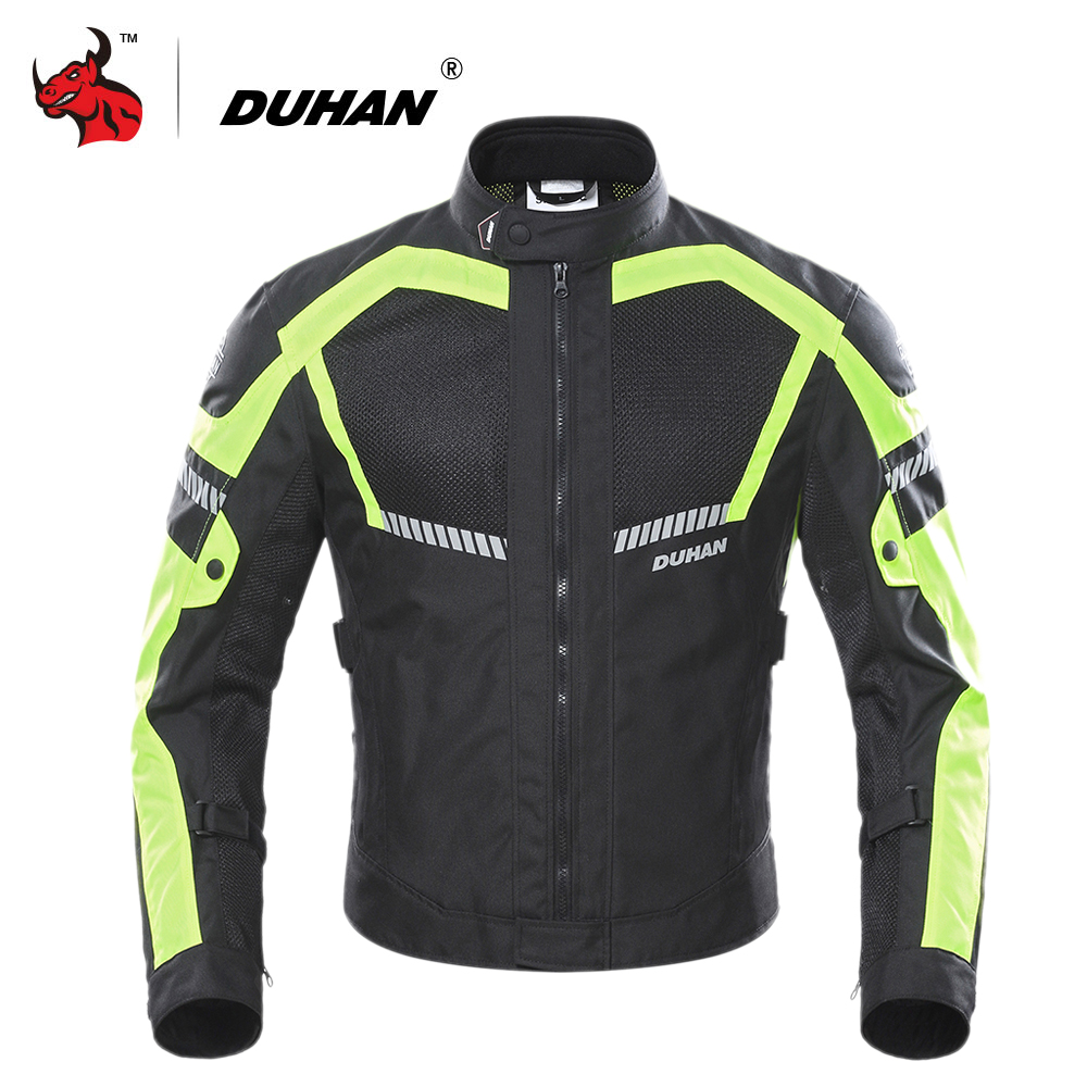 Духан мотоциклетная куртка летняя Мото куртка Мужская мотоцикл защитное снаряжение дышащая сетка Светоотражающая мотоциклетная одежда