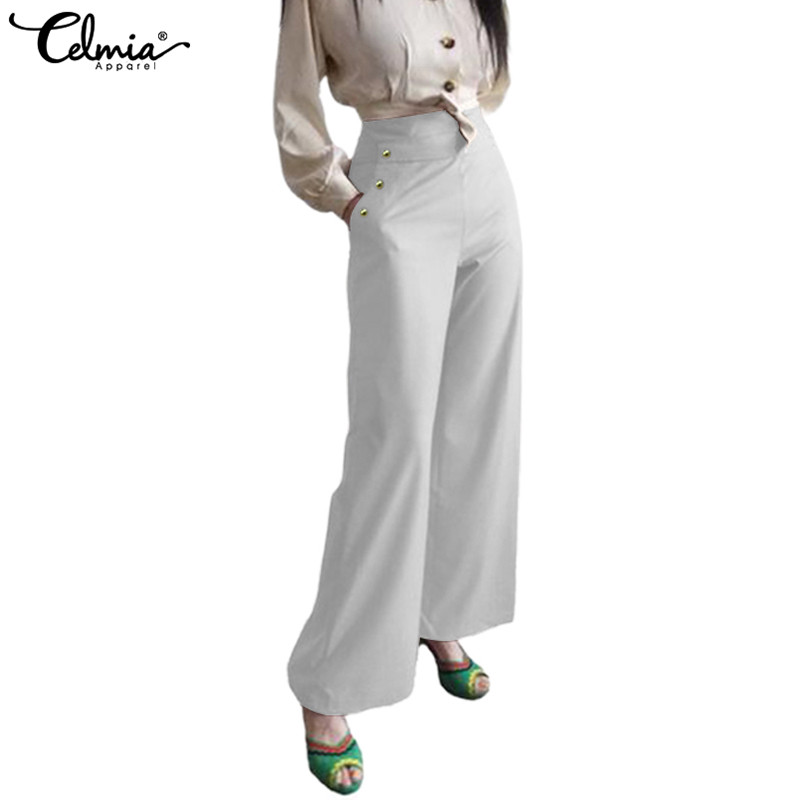 Women High Waist   Wide     Leg     Pant   Celmia Female Long Trousers Casual Solid Pantalon Buttons Elegant Office Ladies Palazzo Plus Size