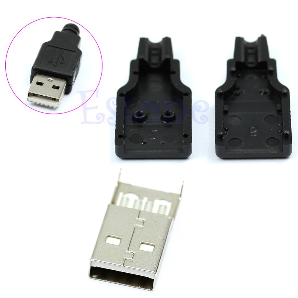 OOTDTY J34 30pcs/lot Type A Male USB 4 Pin Plug Socket Connector With Black Plastic Cove ...