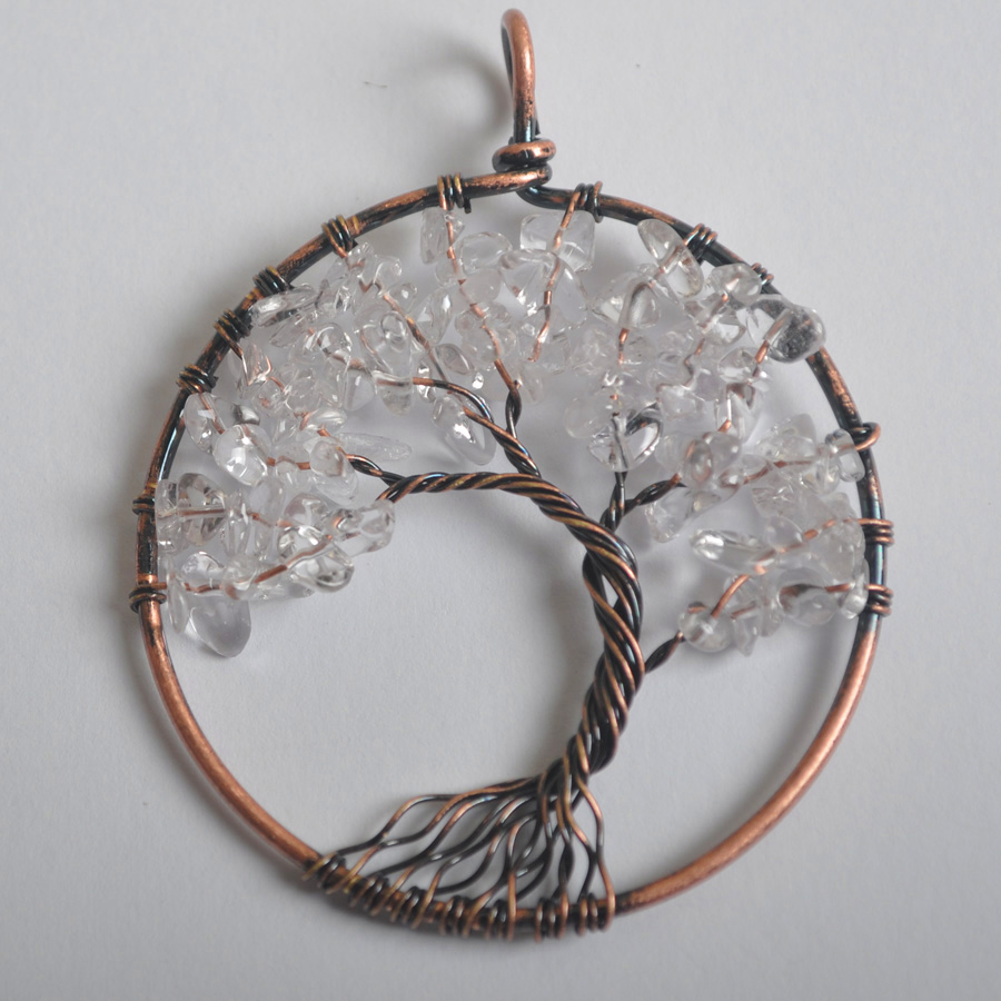 Free Shipping Round Copper Handmade Wire Wrap Tree of life Clear ...