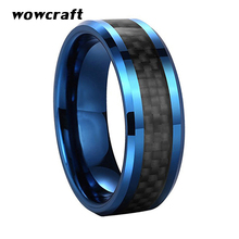 8mm Tungsten Carbide Ring for Men Women Black Carbon Fiber Inlay Beveled Blue Wedding Band Polished Finish  with Comfort Fit цены онлайн