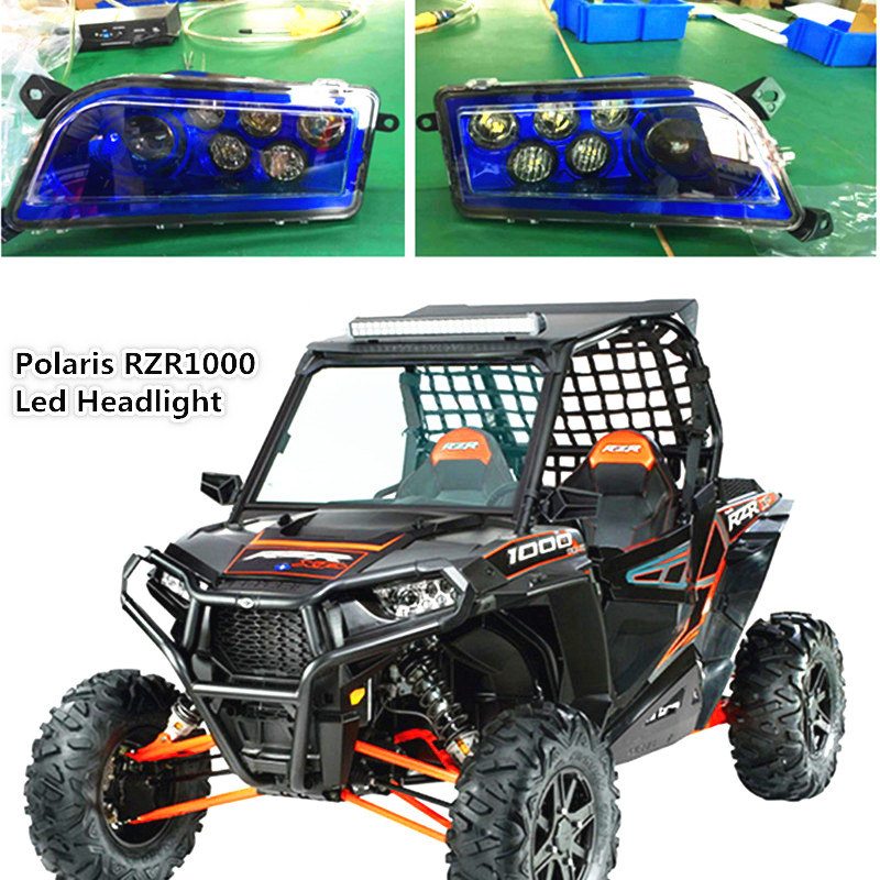 Blue Auto Accessories ATV LED Headlight kit UTV Headlamp for Polaris Razor Push 1000 2016 RZR XP 4 TURBO 2014-2016 RZR XP 4 1000