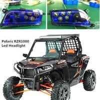 Blue Auto Accessories ATV LED Headlight kit UTV Headlamp for Polaris Razor Push 1000 2016 RZR XP 4 TURBO 2014 2016 RZR XP 4 1000