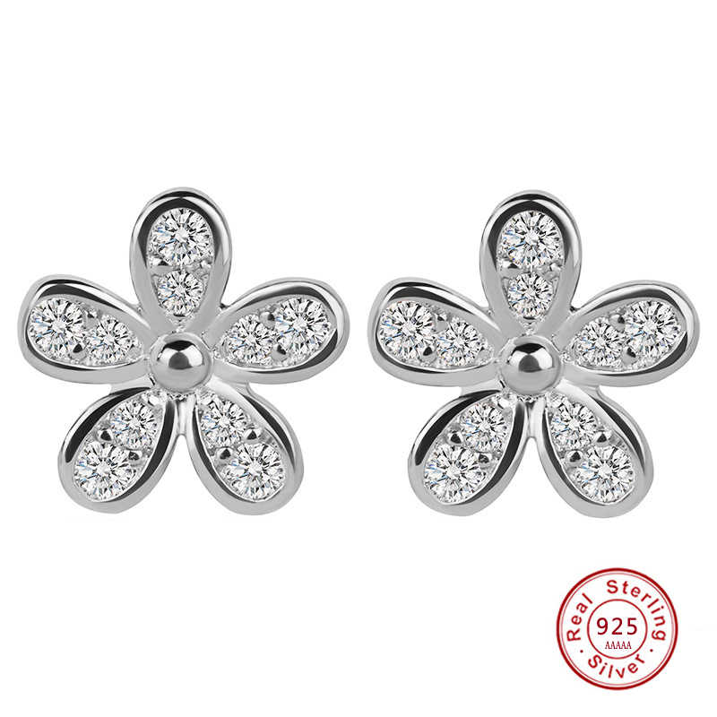 87e1f7c99 Flower Design Authentic 925 Sterling Silver Dazzling Daisy Stud Earrings  With Clear CZ women wedding Jewelry