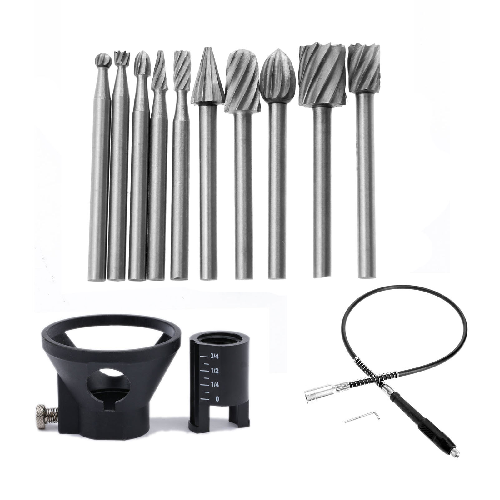 10Pc HSS Routing Router Grinding Bits Burr Dremel Accessories+Drill Dedicated Locator Horn Grinder Rotary Tool+19x2mm Flex Shaft