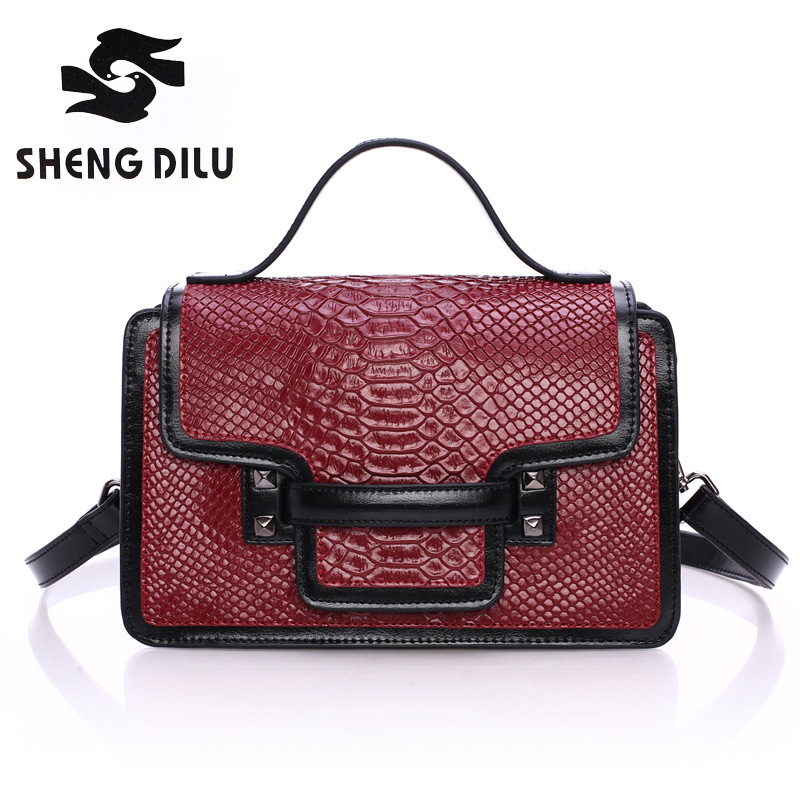 Shengdilu brand Vintage new women handbag with Flap,high quality Genuine leather tote bag female Mini shoulder messenger bags 2017 new crocodile handbag shengdilu brand women genuine leather tote shoulder messenger bag free shipping