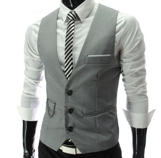 ainr Mens Business Waistcoat Irregular Layered Vest Slim Fit Casual Vest
