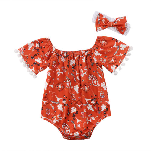 Fashion Toddler Baby Girl Floral Tassel Romper Jumper Jumpsuit Outfit Girls Clothes Rompers