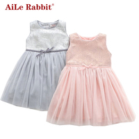 AiLe Rabbit 2017 New Arrival Girl Dresses Fashion Princess Party Birthday Gift Brand High Quality Sleeveless