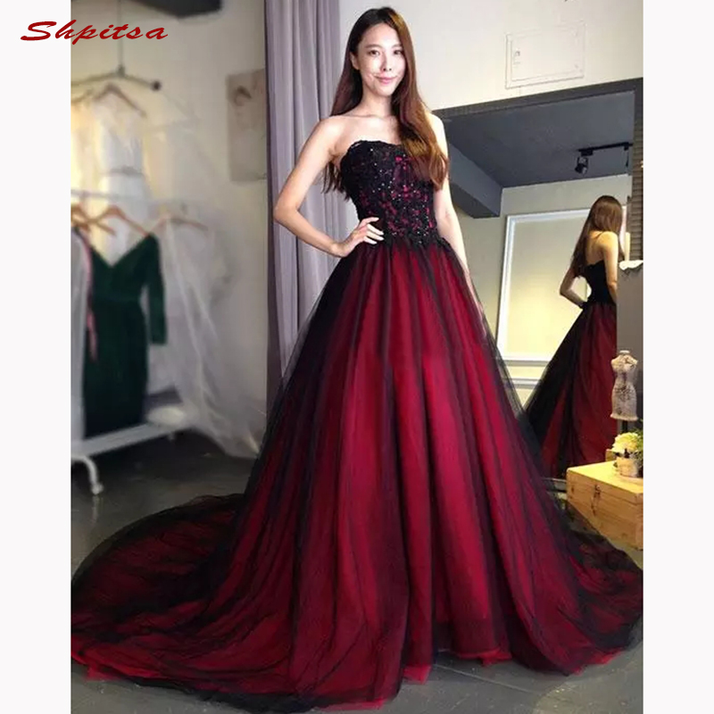 Red And Black Mother Of The Bride Dresses For Wedding Party Plus Size Evening Gowns Groom Godmother Dresses