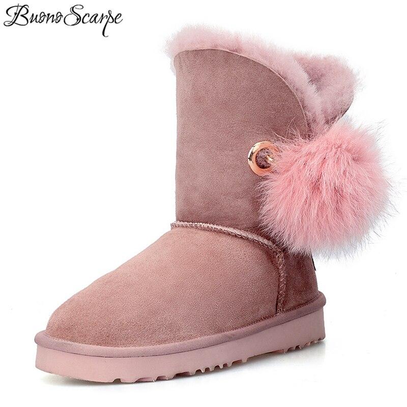 BuonoScarpe Crystal Rhinestone Pom-pom Brooch Real Fox Fur Ball Snow Boots Sheepskin Suede Leather Wool Fur Lined Winter Boots