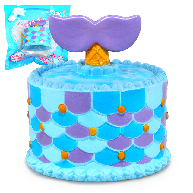 Us 65 Jumbo Squishy Cute Mermaid Cake Squishies Super Slow Rising Cream Scented Original Package Phone Strap In Squeeze Toys From Toys Hobbies On