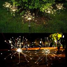 2Pcs/Set Solar Powered Lawn Lamp Light Control Fireworks Shape Outdoor Light For Garden Park Courtyard Decoration(China)