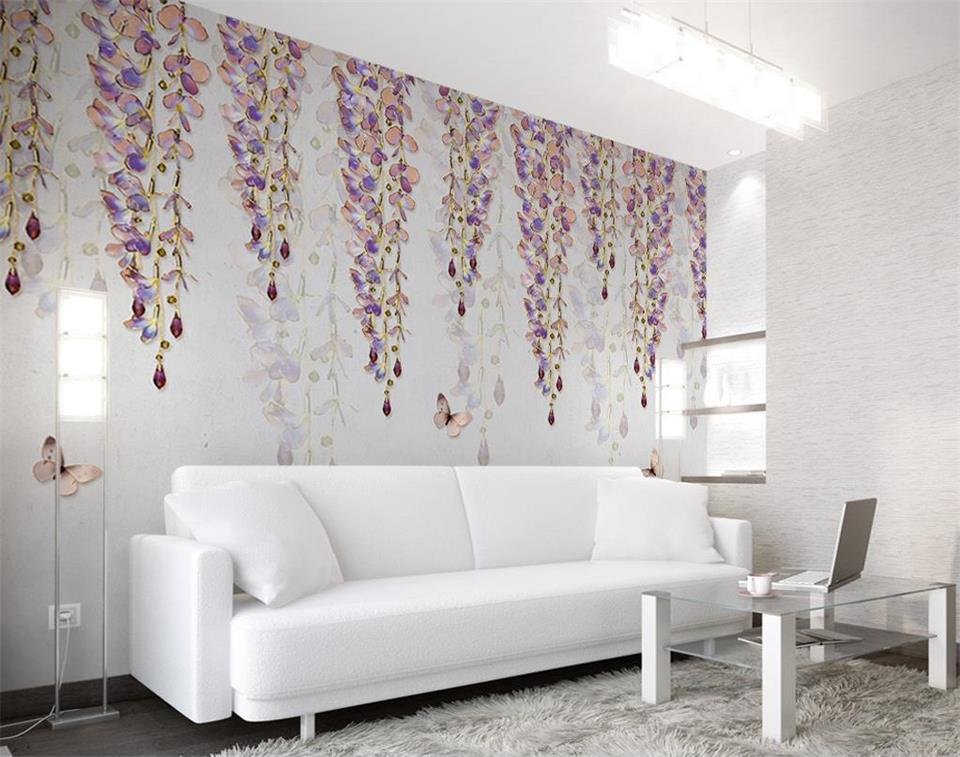 3d wallpaper photo wallpaper custom size mural living room wisteria and flower 3d painting sofa TV background wall sticker mural все цены