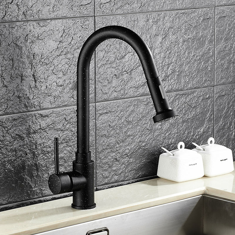 ФОТО Popular high modern black kitchen mixer with pullout sprayer sink hot and cold water faucet taps Dona1220