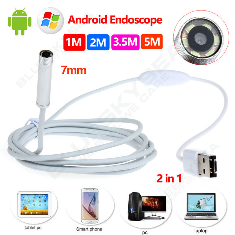Free shipping! 7mm 6LED Android Endoscope Waterproof Inspection 2 in 1 USB Video Camera 1M/2M/3.5M/5M free shipping hd 720p 9mm 3 5m android endoscope 6 led waterproof professional microscope camera se u9