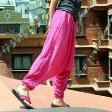 Women Yoga Pants Nepal Harem Loose Wide Leg Cotton Linen Bloomers Crotch Pant Running Jog Leisure Festival Travel Pants Trousers men yoga pants loose wide leg cotton linen india nepal male harem yoga trousers casual sports crotch pants bloomers for men