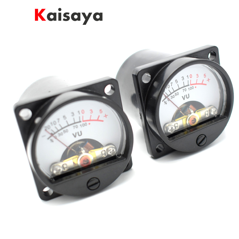 2pcs 500uA 630 Ohms Analog Panel 34mm VU DB Meter Audio Level Meter 6-12V Warm Back Light For Amplifier Radio B5-007