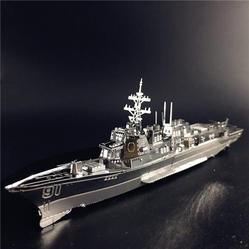 MMZ MODEL Nanyuan 3D Metal Puzzle Burke Class Destroyer Type 056 Corvette Warship Model DIY 3D Laser Cut Jigsaw Toy