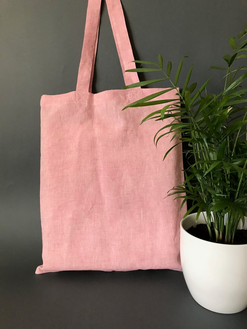 Pink Linen Customize Logo Tote Reusable Cotton Women Storage Shopping Bag Beach Handbags Soild Casual