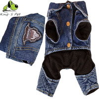 New Arrival Cowboy Dog Clothes Solid Costume Warm Winter Dogs Clothes Coat Cowboy Jean Jacket Four
