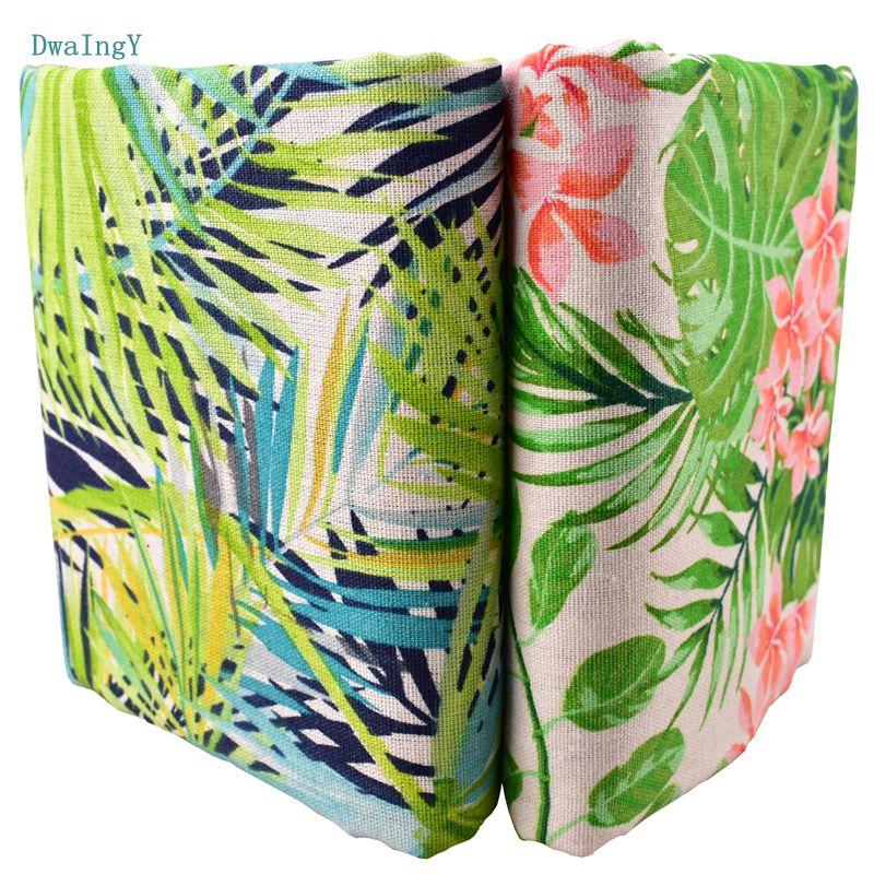 DwaIng zielony liść kwiaty tkanina bawełniana pościel dla DIY szycia Quiltin Sofa obrus meble pokrywa tkanki materiał poduszki