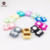 Let's Make 20pcs Siilicone Raccoon Beads Food Grade Silicone DIY Teething Necklace Baby Gifts Pacifier Clips Accessories Beads