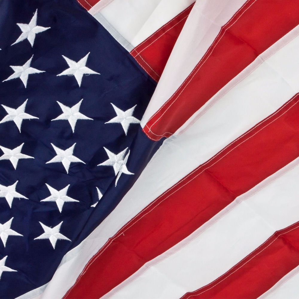 US. USA.American Embroidered Flag 2'x3' or 3'x5' or 4'x6' FT Nylon flag Sewn Stripes Stars Grommets - Indoor/Outdoor