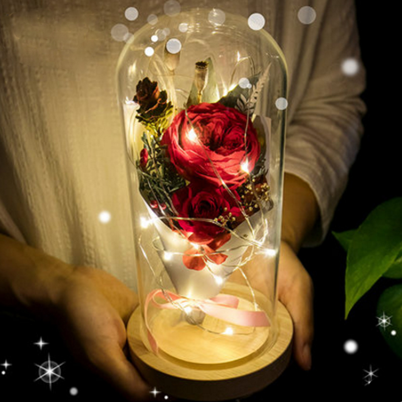Red Silk Rose In A Glass Dome Lamp Decoration Beauty And