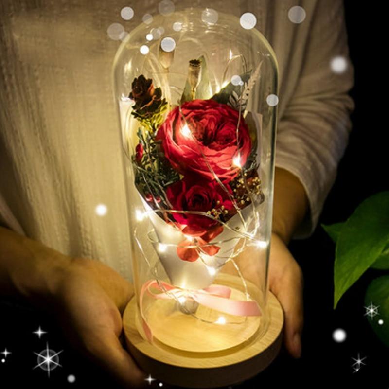 LED Flashing Luminous Artificial Rose Flower Floral