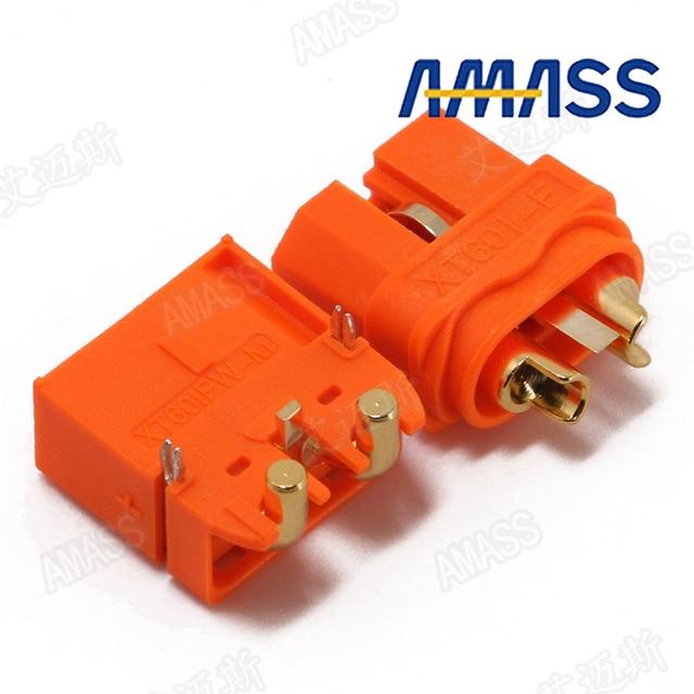 10 pcs/lot AMASS XT60 2+1 Connector With Signal Pin XT60IPW XT60I Horizontal Rectangular Plate Plug Two Core Version