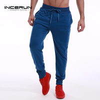 INCERUN S 2XL Men Long Sportswear Pants Casual Elastic Waist Mens Fitness Workout Sweatpants Trousers Joggers