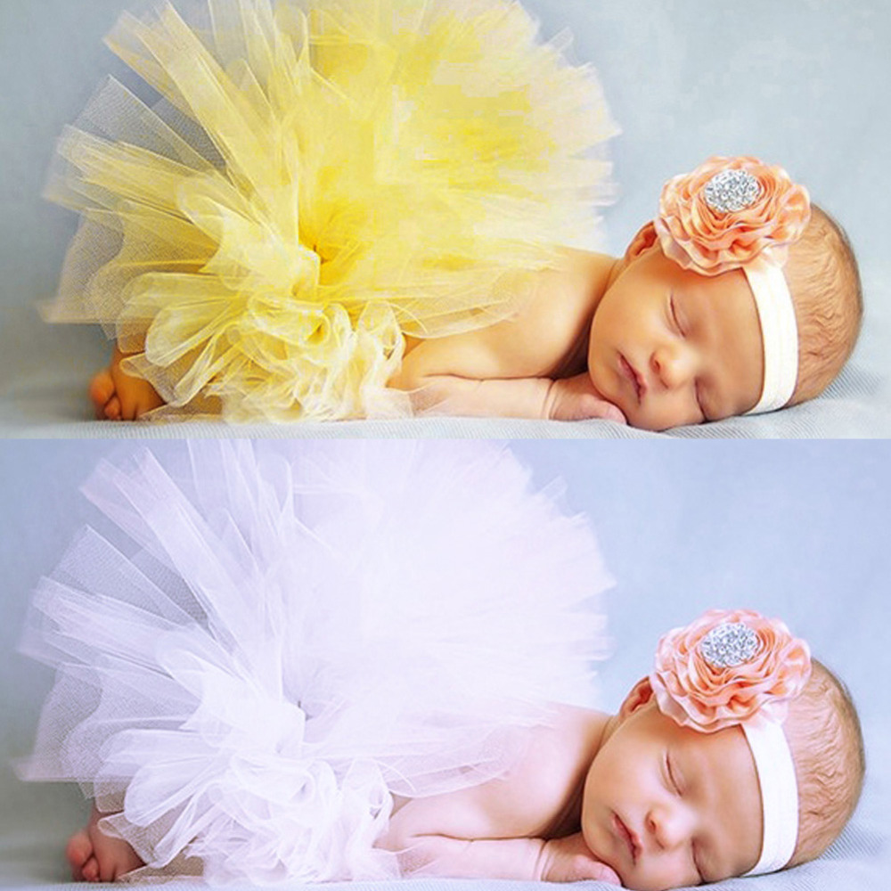 Baby Photography Props Infant Kids Ruffle Tutu Skirt +Flower Headband Costume Newbron Photo Props