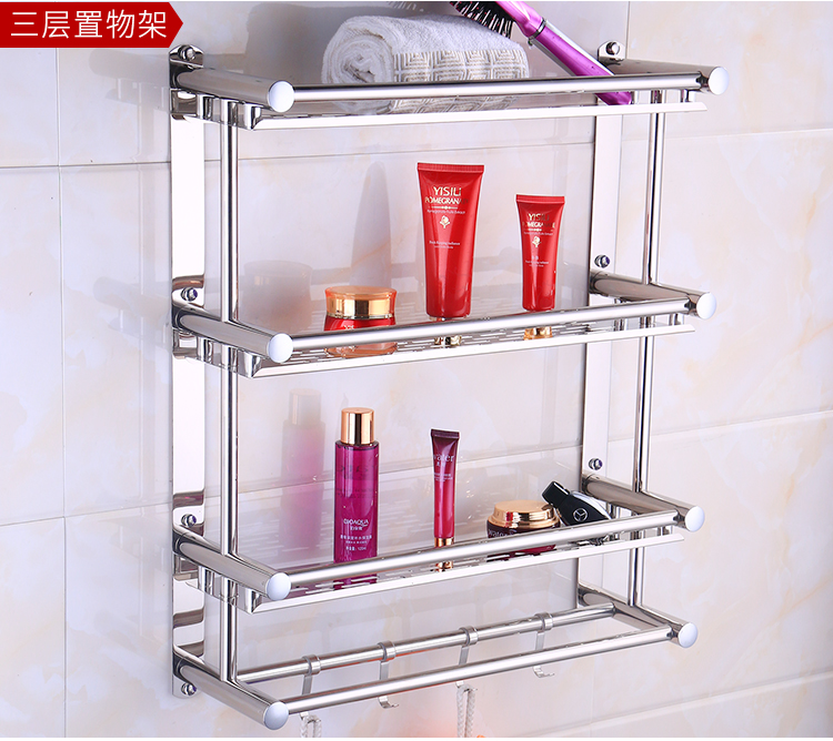 ... sobre que antes de cohechar un 304 Acero inoxidable 3 capas baño  estante ducha champú jabón cosméticos estantes accesorios de baño con gancho  para pared ... 1c3d5e7c8075
