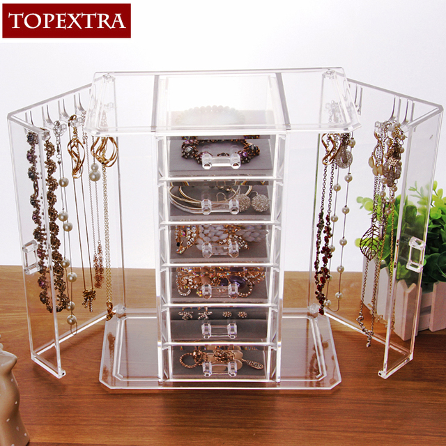 High Quality Large Size Clear Acrylic Jewelry Necklace Drawer