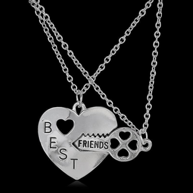2Pcs 2017 New Style Fashion 2 Best Friend Necklaces & Pendants Share With Your Friends Friendship Broken Heart Parts image
