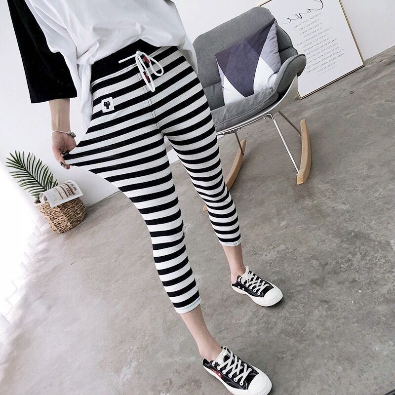 New Stretch Cotton Harajuku Calf Length Pants Womens Spring Summer Casual Trousers Pencil Striped Black