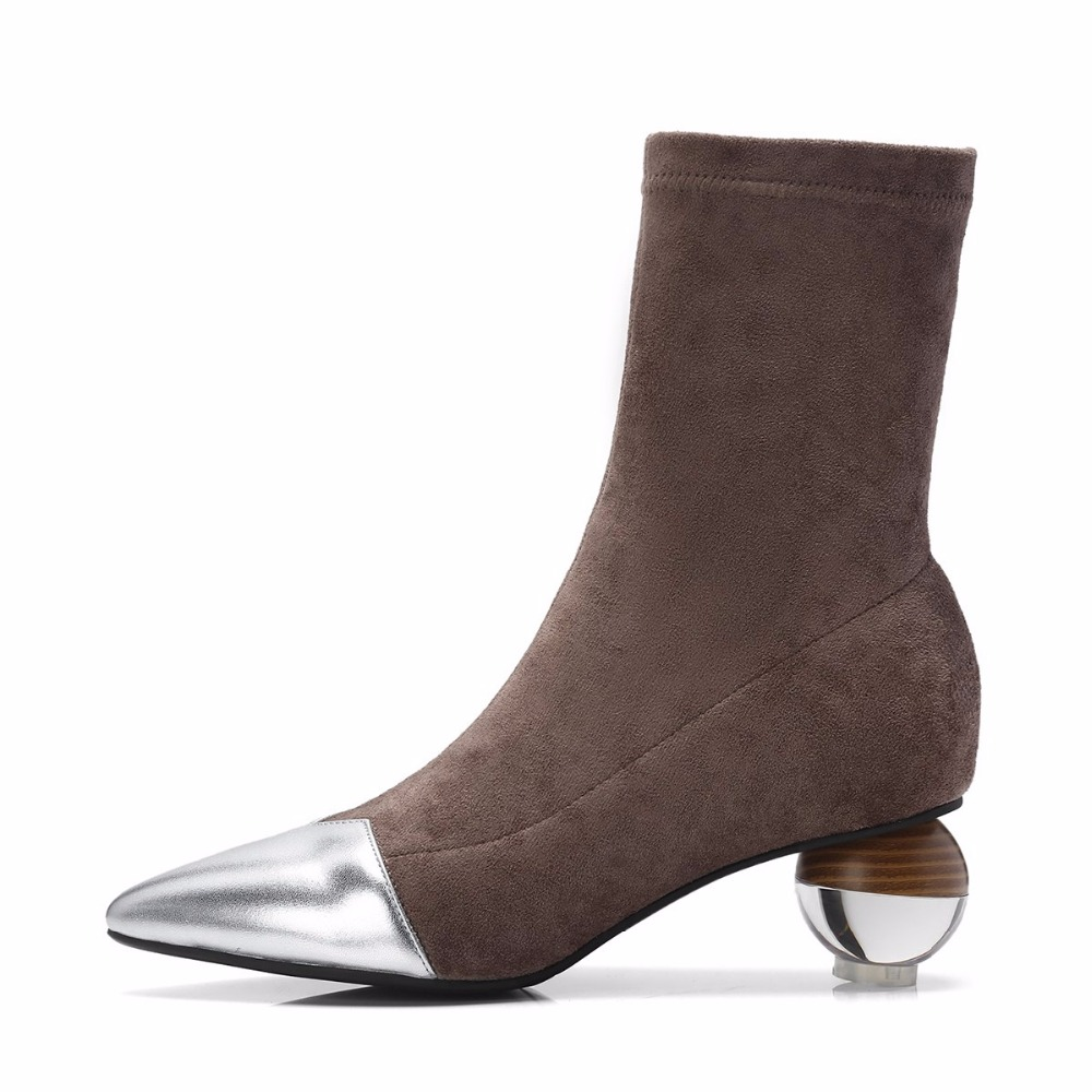 Image 3 - 2019 New Superstar Cow Leather Strange Style Velvet Shoes Pointed  Toe Stretch Boots Crystal High Heels Luxury Chelsea Boots L82Ankle  Boots